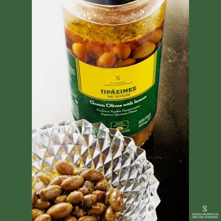 πρασινες ελιες με λεμονι βιολογικες