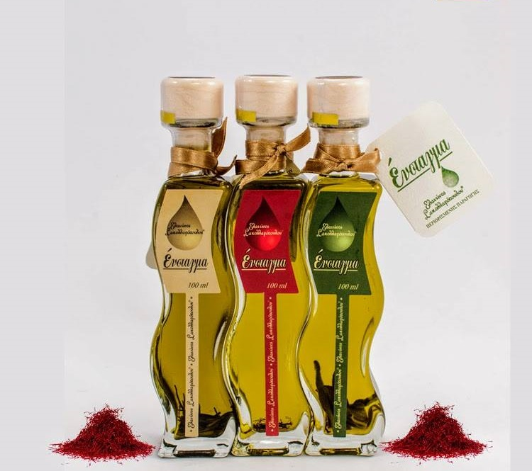 Premium Flavored Evoo with saffron extra virgin greek