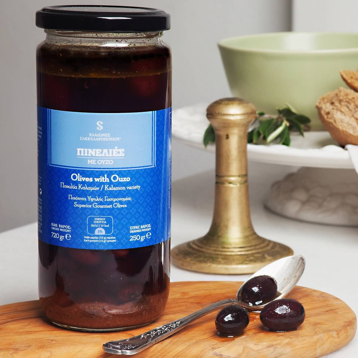 pinelies kalamata olives with ouzo premium gourmet superior