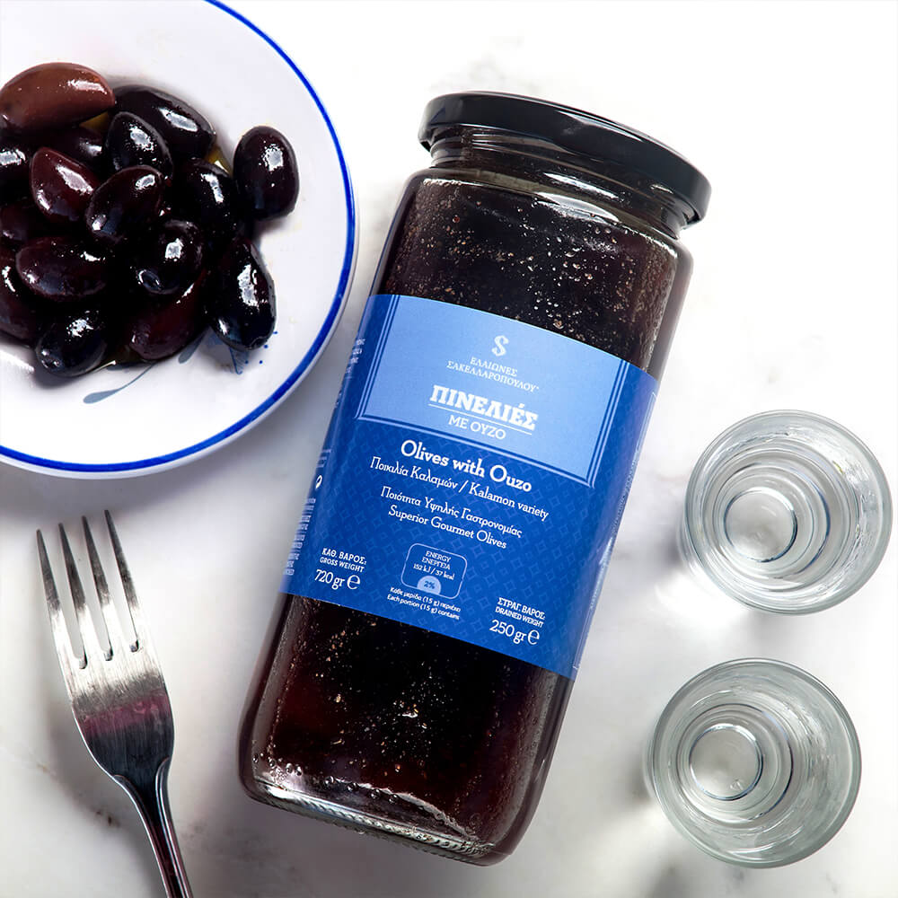 awarded kalamata organic olives with ouzo superior gourmet greek pinelies flavor